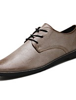 Men's Shoes Leather Spring Fall Driving Shoes Oxfords Lace-up For Casual Brown Gray Black