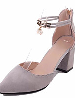 Women's Shoes Cashmere Summer Comfort Heels Walking Shoes Block Heel Pointed Toe Zipper For Casual Gray Black