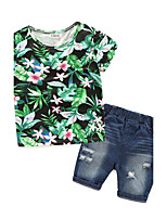 Boys' Floral Sets,Cotton Fall Short Sleeve Clothing Set