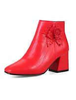 Women's Shoes Leatherette Spring Fall Comfort Fashion Boots Boots Chunky Heel Square Toe Booties/Ankle Boots Zipper Flower For Wedding