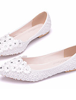 Women's Shoes PU Spring Fall Comfort Novelty Wedding Shoes Flat Heel Pointed Toe Rhinestone Applique Flower For Wedding Party & Evening