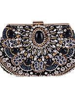 Women Bags All Seasons Polyester Evening Bag Beading Crystal Detailing Pearl Detailing for Wedding Event/Party Black