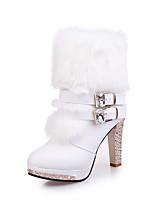 Femme Chaussures Polyuréthane Automne Hiver Confort Bottes Talon Aiguille Bottine/Demi Botte Pour Décontracté Blanc Noir
