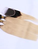 Human Hair Malaysian Hair Weft with Closure Straight Hair Extensions 4 Pieces Black/Bleach Blonde