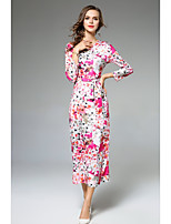 SHE IN SUN Women's Casual/Daily Work Street chic Chinoiserie Sophisticated Bodycon Sheath DressFloral V Neck Maxi Long Sleeves Polyester Fall Mid