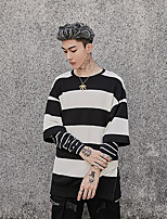 Men's Casual/Daily Sweatshirt Striped Round Neck Micro-elastic Polyester Long Sleeve Fall