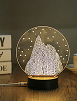 1 Set, Popular Home Acrylic 3D Night Light LED Table Lamp USB Mood Lamp Gifts, Round