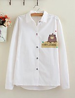 Women's Going out Casual/Daily Sexy Simple Street chic Spring Fall Shirt,Solid Print Shirt Collar Long Sleeves Cotton Others Thin Medium