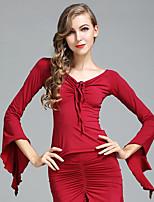 Ballroom Dance Tops Women's Performance Ice Silk Pleated Long Sleeve Tops