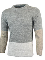 Men's Going out Street chic Regular Pullover,Color Block Round Neck Long Sleeves Others Spring Winter Medium Micro-elastic