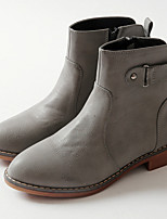 Women's Shoes PU Fall Winter Fashion Boots Boots Flat Heel Booties/Ankle Boots For Casual Light Brown Gray Black