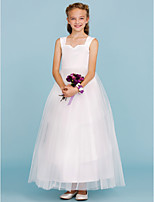 A-Line Princess Straps Ankle Length Satin Tulle Junior Bridesmaid Dress with Pleats by LAN TING BRIDE®