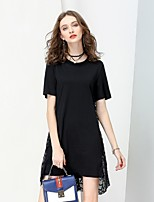 NO PEI SHU Women's Party Going out Street chic Sophisticated A Line Dress,Solid Round Neck Above Knee Short Sleeves Cotton Summer Fall Mid Rise