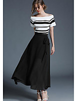 Women's Going out Casual/Daily Simple Summer T-shirt Skirt Suits,Striped Boat Neck Short Sleeve