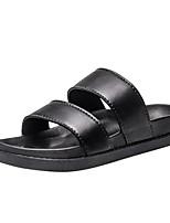 Women's Shoes PU Summer Comfort Light Soles Slippers & Flip-Flops Flat Heel Open Toe For Casual Black White