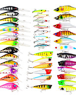 40 pcs Fishing Lures Hard Bait Minnow Popper Lure Packs g/Ounce,50,60,65,75,80,100 mm/2-1/8