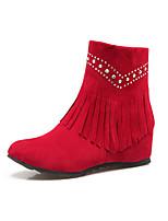Feminino Sapatos Courino Pele Nobuck Outono Inverno Curta/Ankle Botas da Moda Botas Rasteiro Ponta Redonda Botas Curtas / Ankle Pedrarias