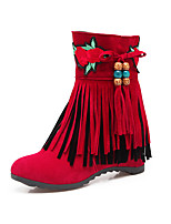 Women's Shoes Nubuck leather Fall Winter Fashion Boots Bootie Boots Low Heel Round Toe Booties/Ankle Boots Zipper Tassel For Casual Dress