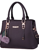 Women Bags All Seasons PU Tote Feathers / Fur for Formal Office & Career Blue Black Red Blushing Pink Gray
