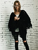 Women's Casual/Daily Work Simple Active Street chic Fall Winter Fur Coat,Solid V Neck Long Sleeve Short Polyester Others