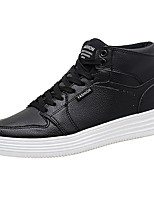 Men's Shoes PU Spring Fall Comfort Sneakers Lace-up For Casual Black White