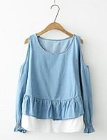 T-shirt Da donna Per uscire Casual Semplice Romantico Moda città Primavera Autunno,Tinta unita Senza spalline Cotone Acrilico Altro