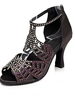 Women's Latin Silk Sandal Heel Sneaker Indoor Rhinestone Stiletto Heel Blushing Pink Red Black 2