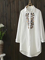 Women's Going out Casual/Daily Sexy Simple Street chic Spring Fall Shirt,Solid Embroidery Shirt Collar Long Sleeves Cotton Polyester