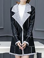 Women's Plus Size Casual/Daily Simple Fall Winter Fur Coat,Solid Shirt Collar Long Sleeve Long PU