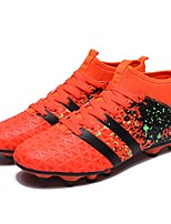 Boys' Shoes Leather Spring Fall Comfort Athletic Shoes Soccer Shoes Lace-up For Athletic Light Green Orange Black