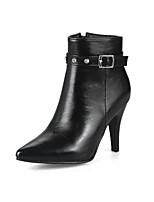 Feminino Sapatos Courino Outono Inverno Botas da Moda Curta/Ankle Botas Salto Agulha Dedo Apontado Botas Curtas / Ankle Tachas Presilha