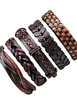 Men's Women's Leather Bracelet Wrap Bracelet Adjustable Rock Leather Circle Irregular Jewelry For Halloween Going out