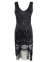 Latin Dance Dresses Women's Performance Polyester Sequined Tassel(s) Paillette 1 Piece Sleeveless High Dress