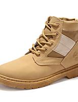 Feminino Sapatos Couro Ecológico Primavera Outono Conforto Botas da Moda Botas Rasteiro Ponta Redonda Cadarço Para Casual Branco Preto