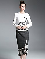 ZIYI Women's Casual/Daily Work Simple Spring Fall Winter Hoodie Skirt Suits,Floral Color Block Round Neck Long Sleeve Micro-elastic