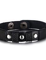 Муж. Жен. Кожаные браслеты Хип-хоп Rock Кожа Титановая сталь Круглый Бижутерия Назначение Для вечеринок День рождения