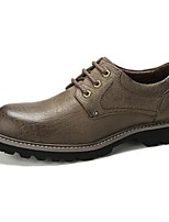 Men's Shoes Cowhide Spring Fall Comfort Oxfords For Casual Dark Green Yellow