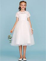 Ball Gown Crew Neck Knee Length Lace Tulle Junior Bridesmaid Dress with Pleats by LAN TING BRIDE®