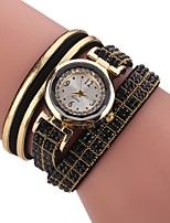 Women's Fashion Watch Simulated Diamond Watch Bracelet Watch Chinese Quartz Imitation Diamond PU Band Bohemian Charm Elegant Casual Black