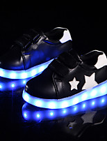 Boys' Sneakers Light Up Shoes Comfort Novelty Fall Winter PU Casual Outdoor Magic Tape Flat Heel Black White Flat