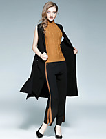 EWUS Women's Going out Casual/Daily Street chic Fall Cloak/Capes,Solid Round Neck Sleeveless Long Polyester