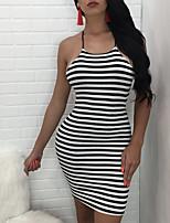 Damen Bodycon Kleid-Ausgehen Klub Sexy Street Schick Gestreift Halter Mini Ärmellos Polyester Sommer Herbst Mittlere Hüfthöhe