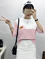 Women's Going out Cute Street chic Spring T-shirt,Color Block Round Neck 3/4 Length Sleeves Cotton Opaque
