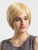 Women Human Hair Capless Wigs Strawberry Blonde/Bleach Blonde Short Straight