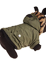 Dog Hoodie Dog Clothes Cotton Down Winter Spring/Fall Casual/Daily Solid Green For Pets