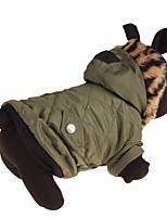 Cachorro Camisola com Capuz Roupas para Cães Casual Sólido Verde