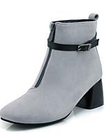 Feminino Sapatos Courino Outono Inverno Botas da Moda Coturnos Botas Salto Grosso Ponta quadrada Botas Curtas / Ankle Presilha Ziper Para