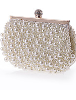 Women Bags All Seasons Polyester Evening Bag Crystal Detailing Pearl Detailing for Wedding Event/Party White