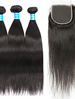 Human Hair Peruvian One Pack Solution Straight Hair Extensions Four-piece Suit Black