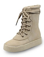 Women's Shoes Fabric Fall Winter Comfort Boots Flat Heel Lace-up For Casual Beige Black